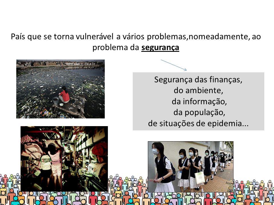 País que se torna vulnerável a vários problemas,nomeadamente, ao problema da segurança Segurança das finanças, do ambiente, da informação, da população, de situações de epidemia...