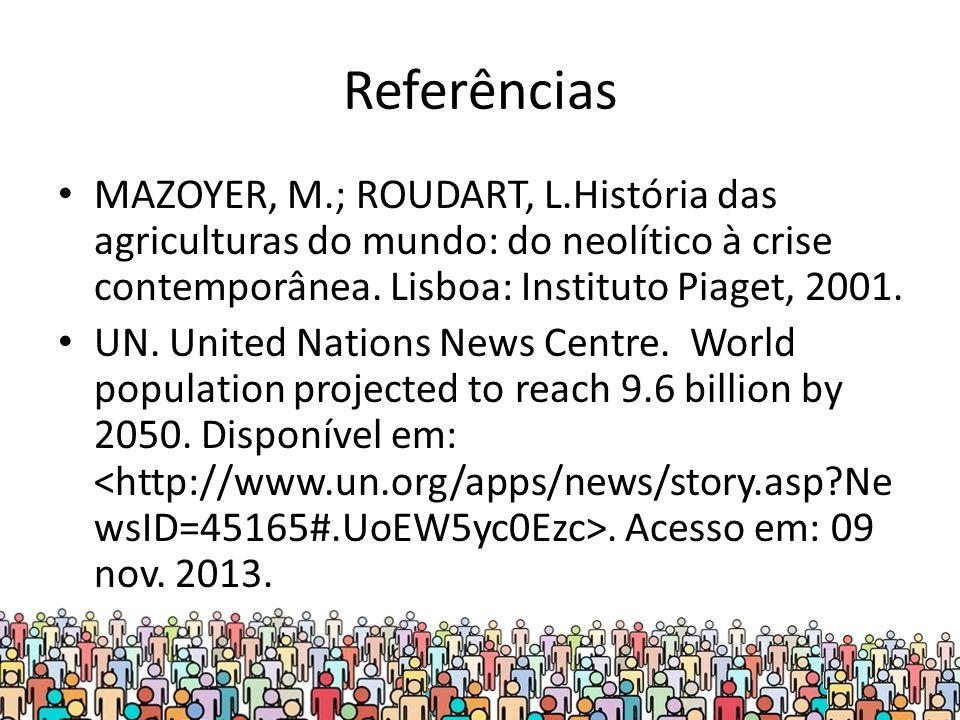 Referências MAZOYER, M.; ROUDART, L.História das agriculturas do mundo: do neolítico à crise contemporânea.