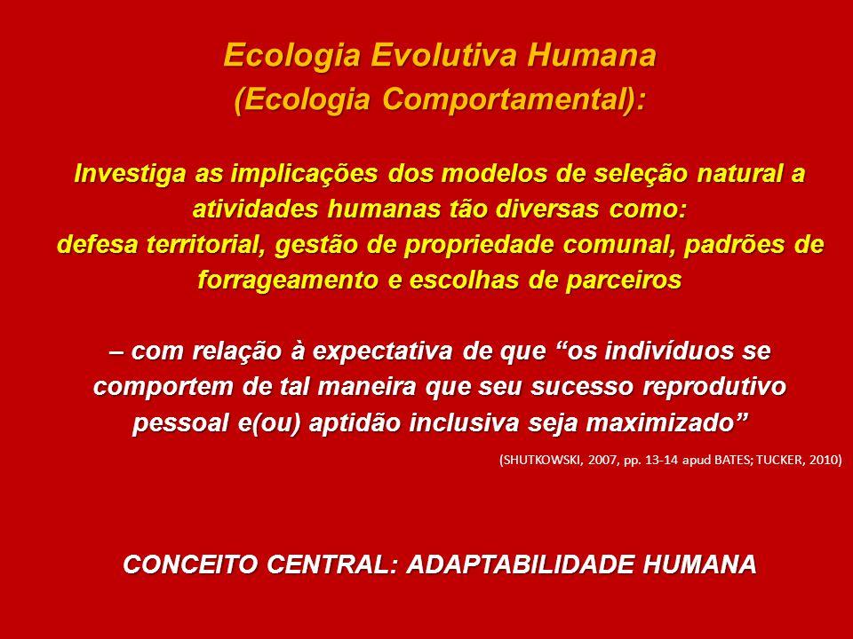 Ecologia Evolutiva Humana (Ecologia Comportamental): Investiga as implicações dos modelos de seleção natural a atividades humanas tão diversas como: d