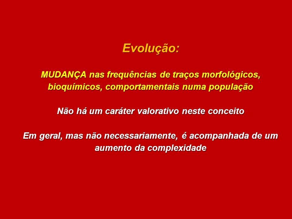 Evolução: MUDANÇA nas frequências de traços morfológicos, bioquímicos, comportamentais numa população Não há um caráter valorativo neste conceito Em g
