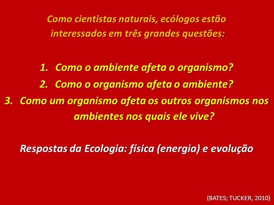 Como cientistas naturais, ecólogos estão interessados em três grandes questões: interessados em três grandes questões: 1.Como o ambiente afeta o organ
