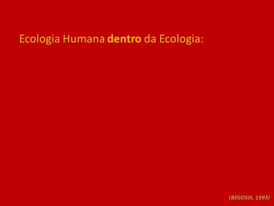 Ecologia Humana dentro da Ecologia: (BEGOSSI, 1993)