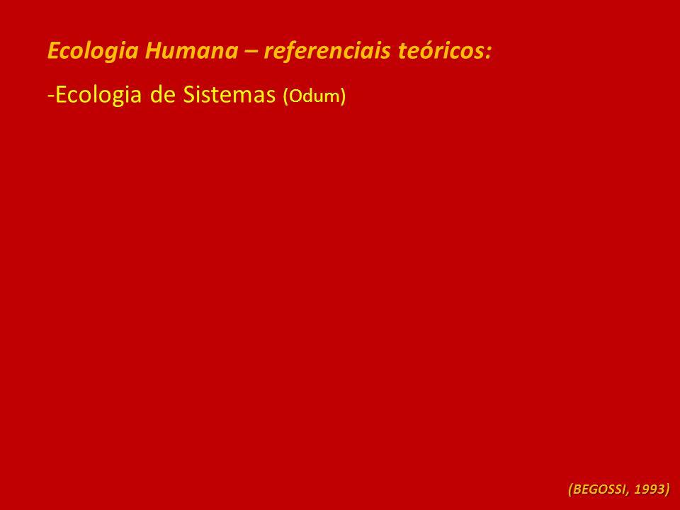 Ecologia Humana – referenciais teóricos: -Ecologia de Sistemas (Odum) (BEGOSSI, 1993)