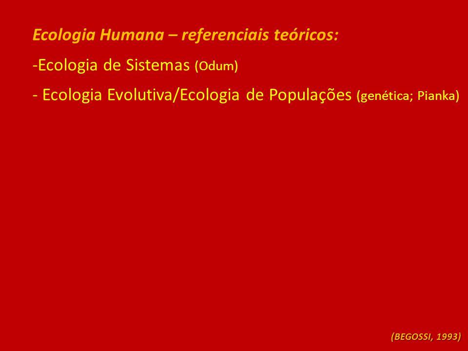 Ecologia Humana – referenciais teóricos: -Ecologia de Sistemas (Odum) - Ecologia Evolutiva/Ecologia de Populações (genética; Pianka) (BEGOSSI, 1993)