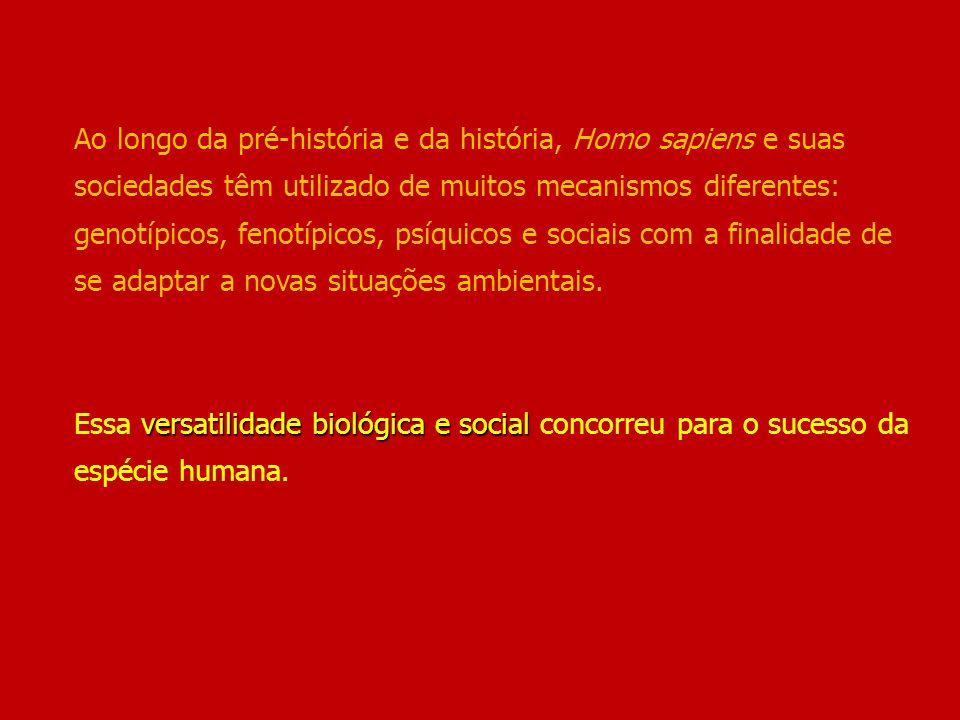 versatilidade biológica e social Ao longo da pré-história e da história, Homo sapiens e suas sociedades têm utilizado de muitos mecanismos diferentes: