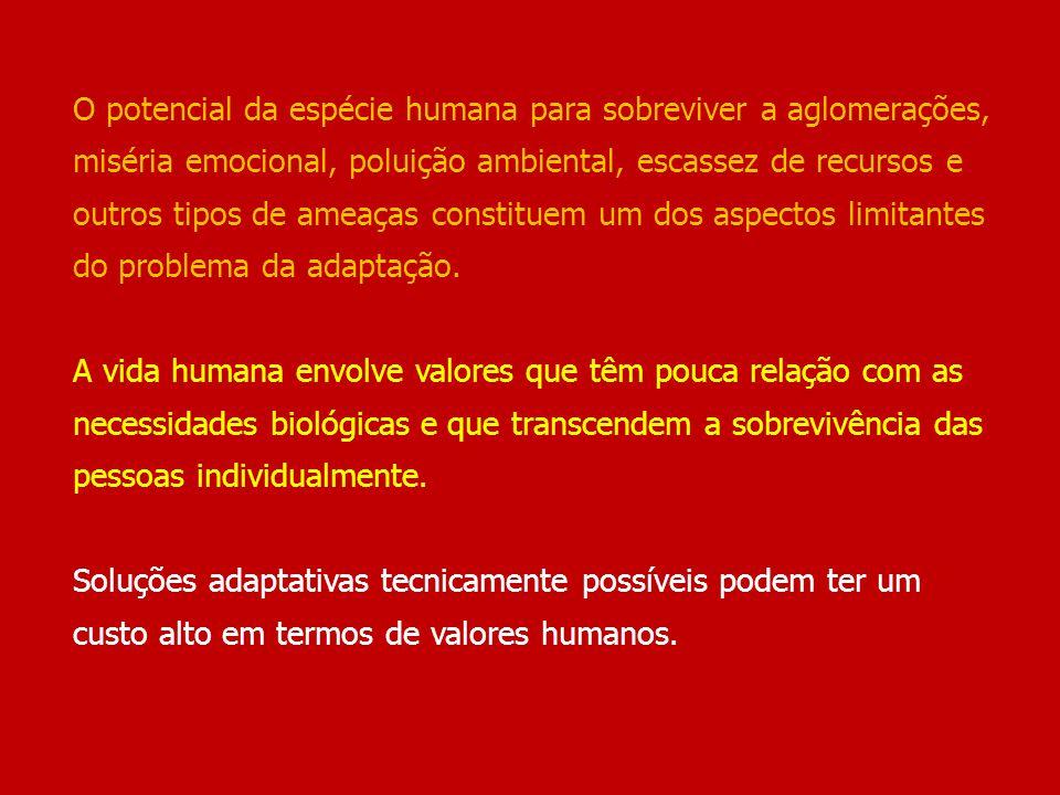 O potencial da espécie humana para sobreviver a aglomerações, miséria emocional, poluição ambiental, escassez de recursos e outros tipos de ameaças co