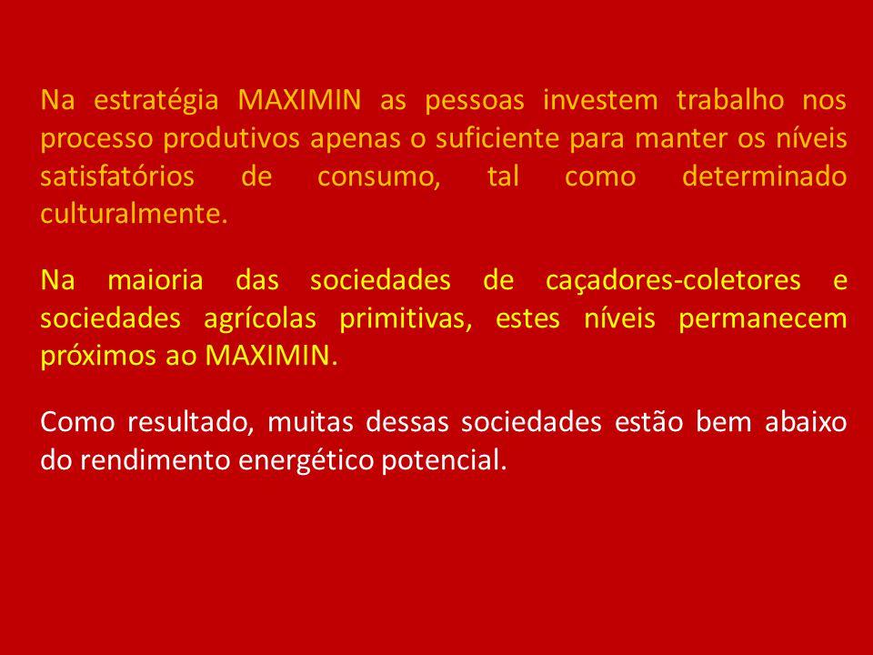 Na estratégia MAXIMIN as pessoas investem trabalho nos processo produtivos apenas o suficiente para manter os níveis satisfatórios de consumo, tal com