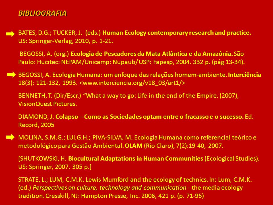 BIBLIOGRAFIA BATES, D.G.; TUCKER, J. (eds.) Human Ecology contemporary research and practice. US: Springer-Verlag, 2010, p. 1-21. BEGOSSI, A. (org.) E