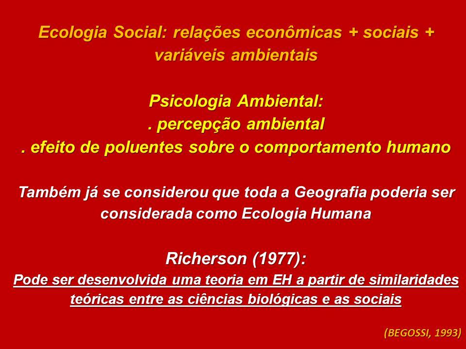 Ecologia Social: relações econômicas + sociais + variáveis ambientais Psicologia Ambiental:. percepção ambiental. efeito de poluentes sobre o comporta