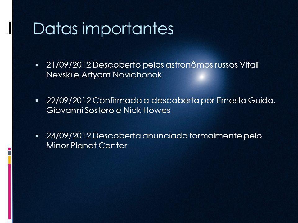 Datas importantes 21/09/2012 Descoberto pelos astronômos russos Vitali Nevski e Artyom Novichonok 22/09/2012 Confirmada a descoberta por Ernesto Guido