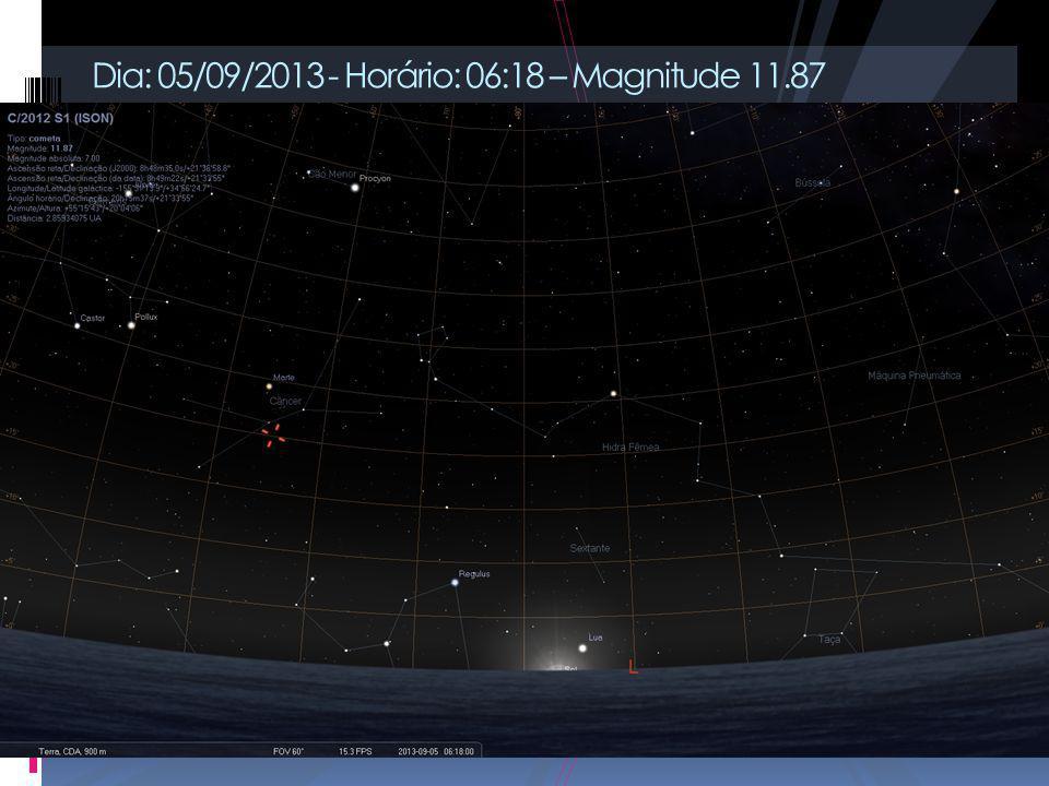Dia: 05/09/2013 - Horário: 06:18 – Magnitude 11.87