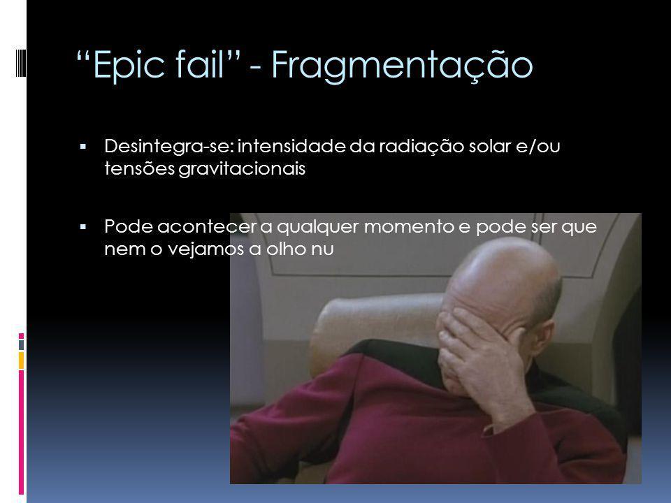 Epic fail - Fragmentação Desintegra-se: intensidade da radiação solar e/ou tensões gravitacionais Pode acontecer a qualquer momento e pode ser que nem