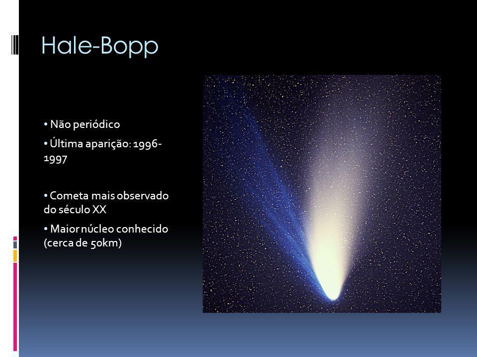 Hyakutake Não periódico Última aparição: 1996 O grande cometa de 1996 Cauda mais longa até então conhecida para um cometa