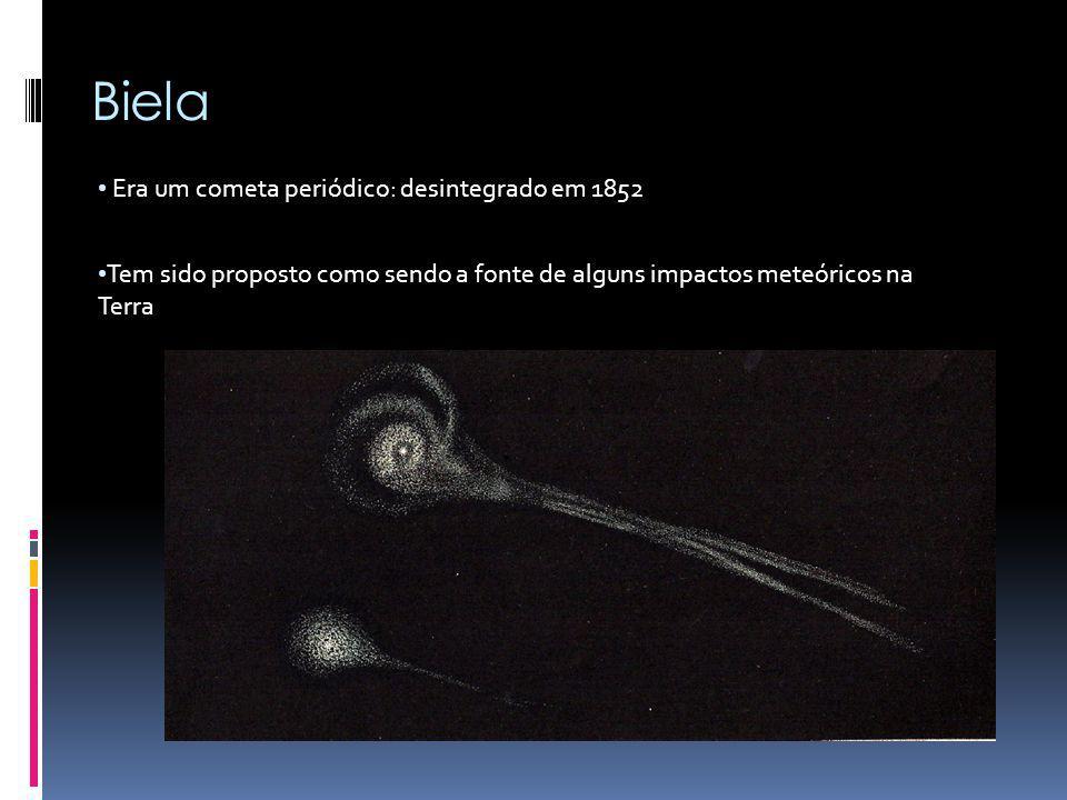Biela Era um cometa periódico: desintegrado em 1852 Tem sido proposto como sendo a fonte de alguns impactos meteóricos na Terra