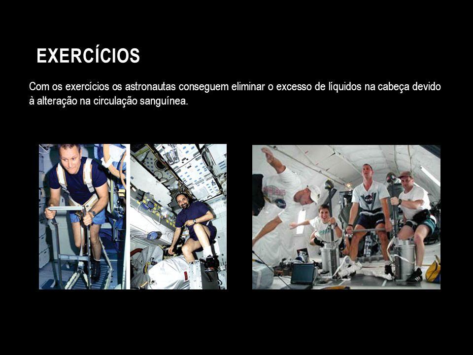 Com os exercícios os astronautas conseguem eliminar o excesso de líquidos na cabeça devido à alteração na circulação sanguínea. EXERCÍCIOS