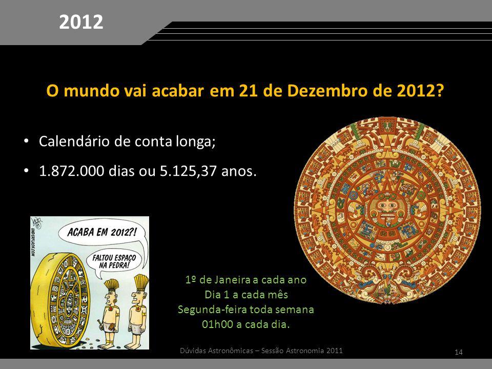 14 Dúvidas Astronômicas – Sessão Astronomia 2011 2012 O mundo vai acabar em 21 de Dezembro de 2012.