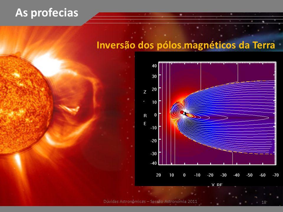 18 Dúvidas Astronômicas – Sessão Astronomia 2011 As profecias Inversão dos pólos magnéticos da Terra
