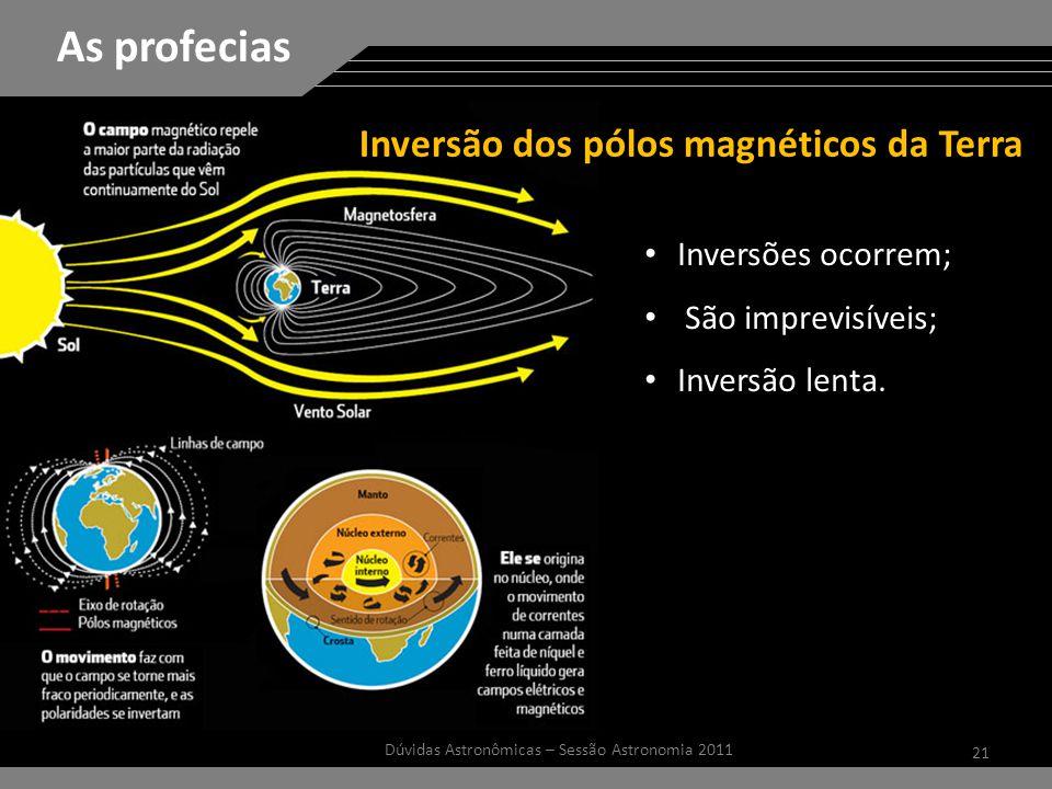 21 Dúvidas Astronômicas – Sessão Astronomia 2011 As profecias Inversões ocorrem; São imprevisíveis; Inversão lenta.