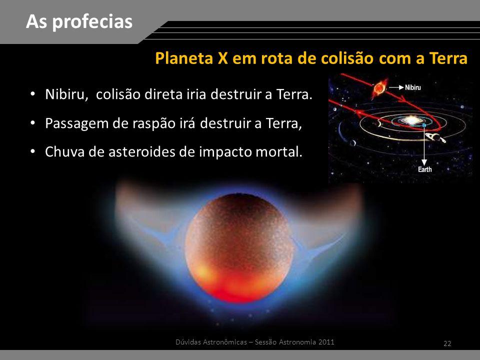 22 Dúvidas Astronômicas – Sessão Astronomia 2011 As profecias Nibiru, colisão direta iria destruir a Terra.