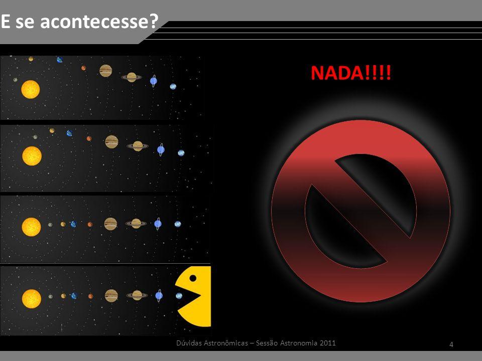 4 Dúvidas Astronômicas – Sessão Astronomia 2011 E se acontecesse? NADA!!!!
