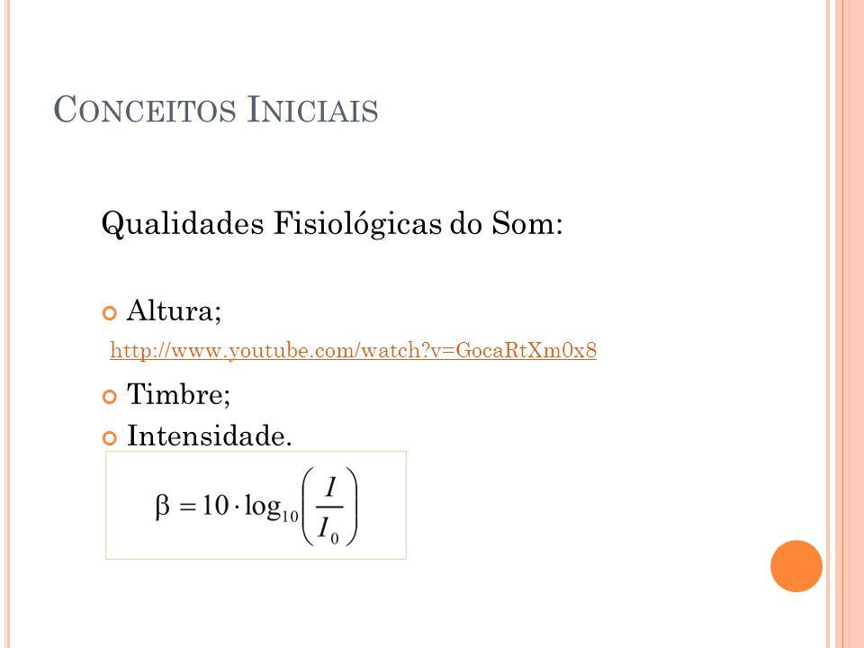 C ONCEITOS I NICIAIS Qualidades Fisiológicas do Som: Altura; Timbre; Intensidade. http://www.youtube.com/watch?v=GocaRtXm0x8