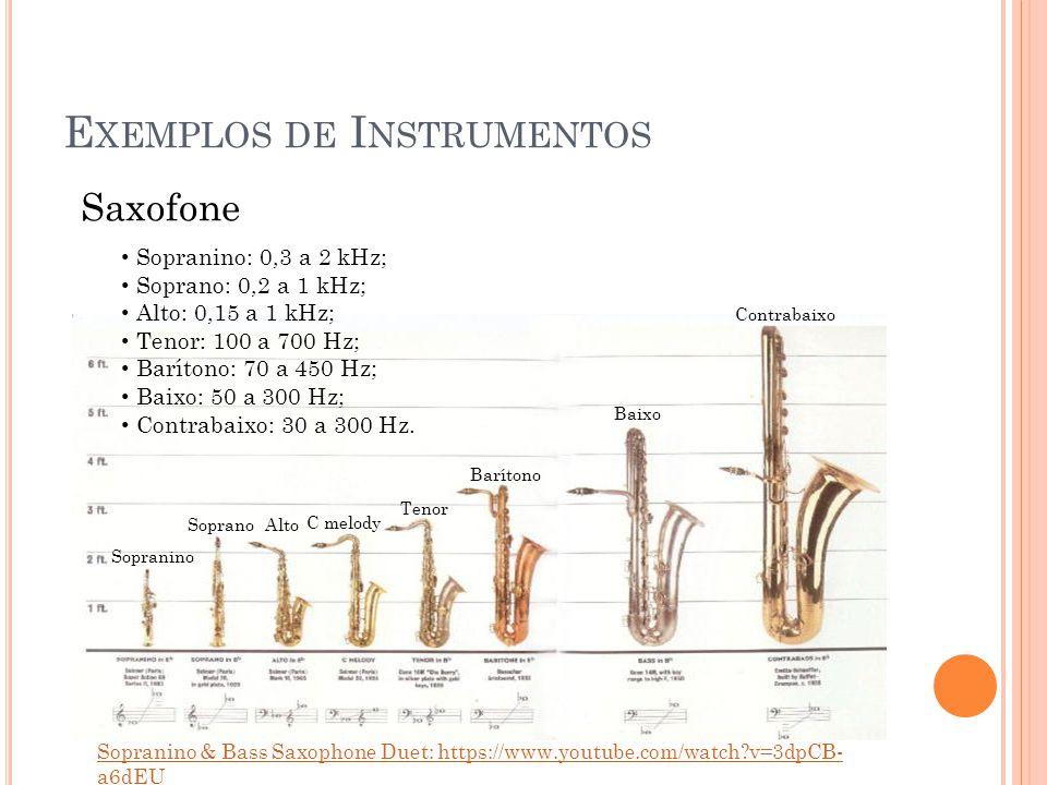 E XEMPLOS DE I NSTRUMENTOS Saxofone Sopranino Soprano Alto C melody Tenor Barítono Baixo Contrabaixo Sopranino & Bass Saxophone Duet: https://www.yout