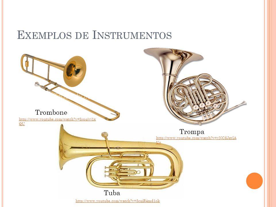 E XEMPLOS DE I NSTRUMENTOS Trombone Trompa Tuba http://www.youtube.com/watch?v=Iopqjyj1x QU http://www.youtube.com/watch?v=yNCdJgclA Uc http://www.you