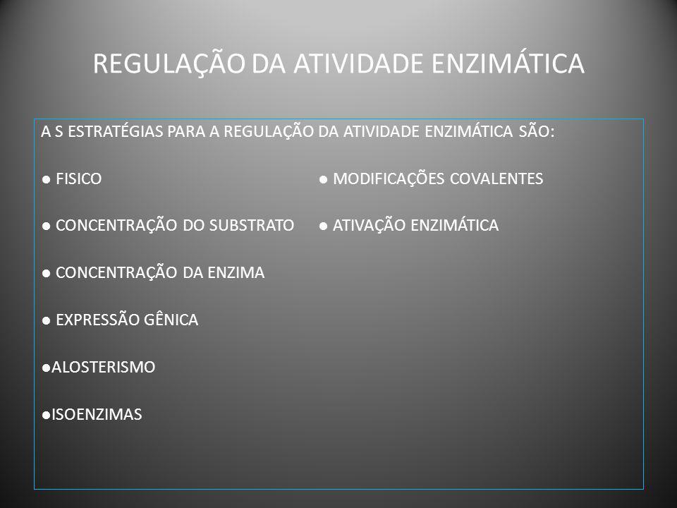 CONTROLE FISICO A ENZIMA E O SUBSTRATO DEVEM ESTAR NO MESMO COMPARTIMENTO CELULAR.