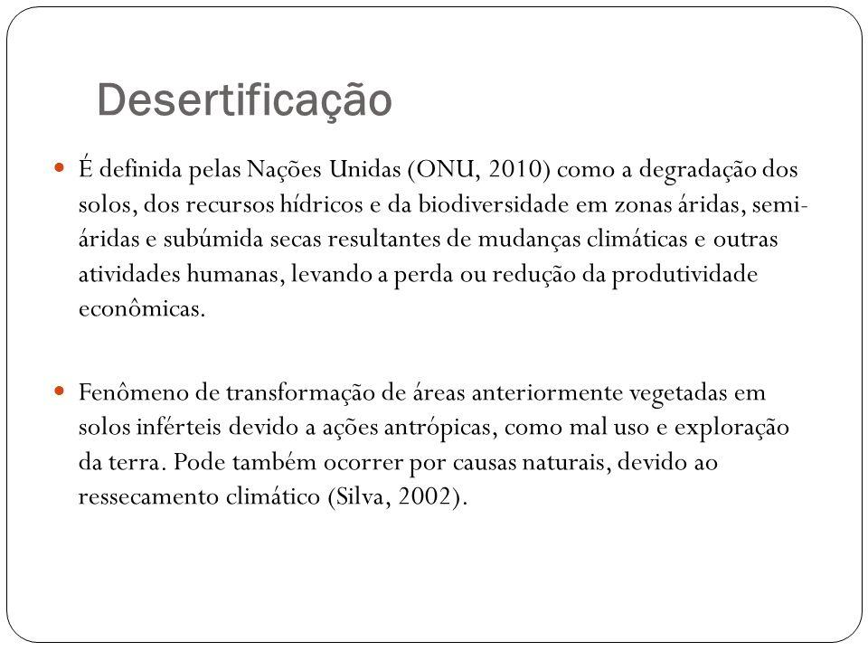 Desertificação É definida pelas Nações Unidas (ONU, 2010) como a degradação dos solos, dos recursos hídricos e da biodiversidade em zonas áridas, semi
