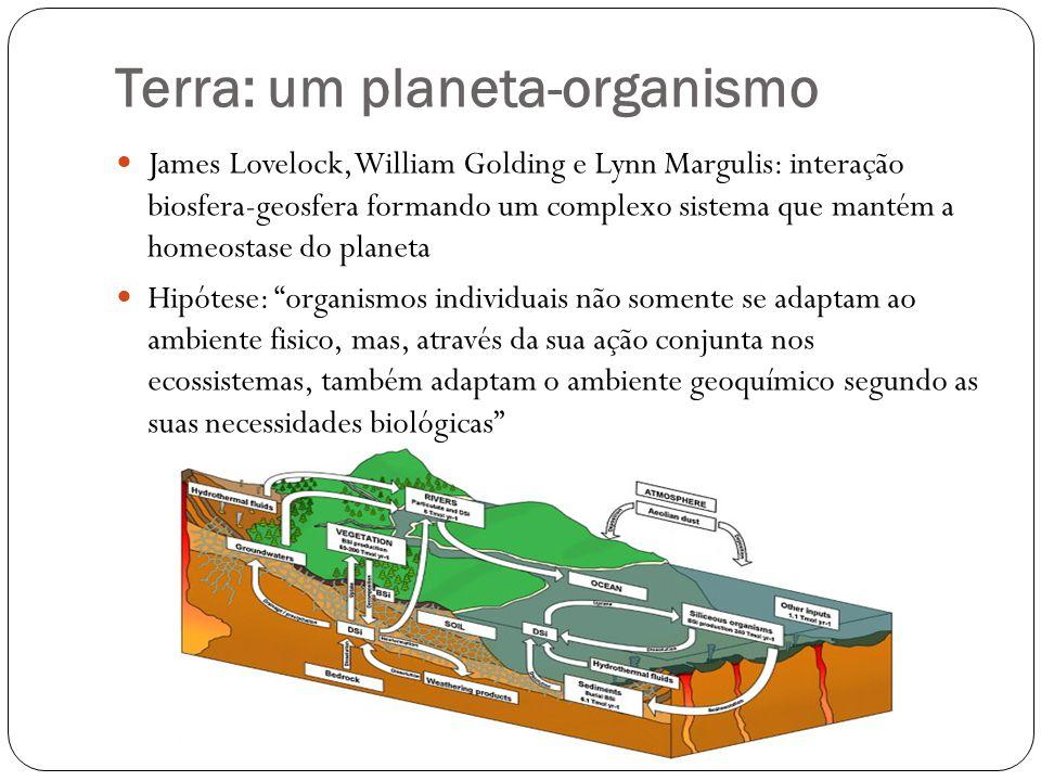 Terra: um planeta-organismo James Lovelock, William Golding e Lynn Margulis: interação biosfera-geosfera formando um complexo sistema que mantém a hom