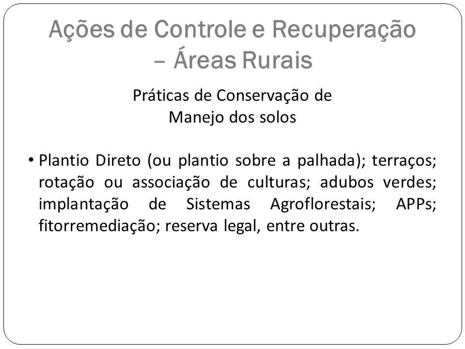 Ações de Controle e Recuperação – Áreas Rurais Práticas de Conservação de Manejo dos solos Plantio Direto (ou plantio sobre a palhada); terraços; rota