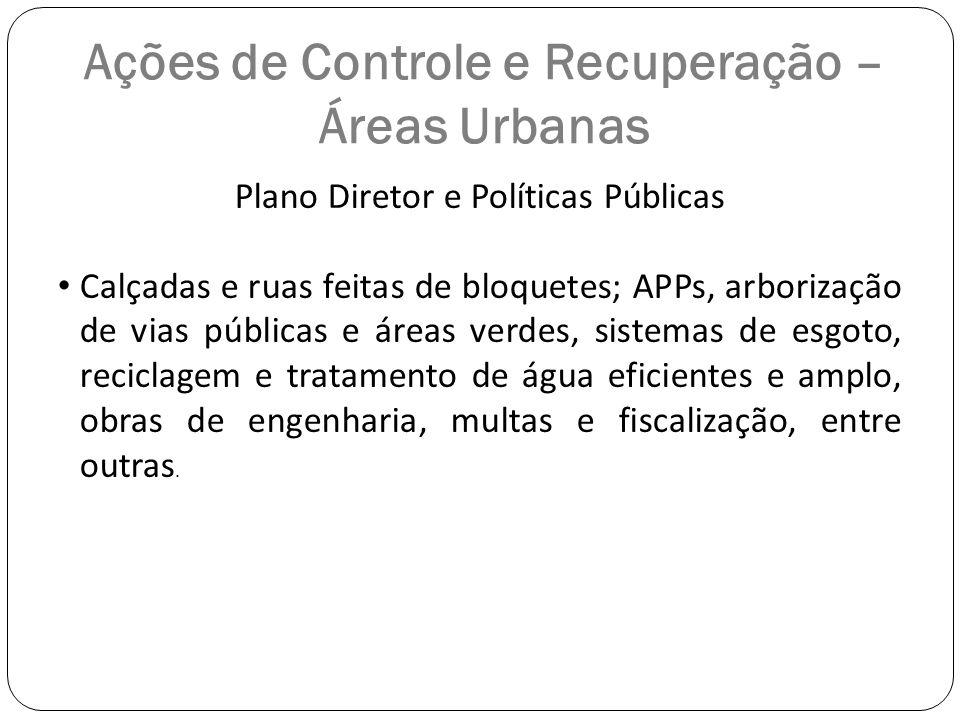Ações de Controle e Recuperação – Áreas Urbanas Plano Diretor e Políticas Públicas Calçadas e ruas feitas de bloquetes; APPs, arborização de vias públ