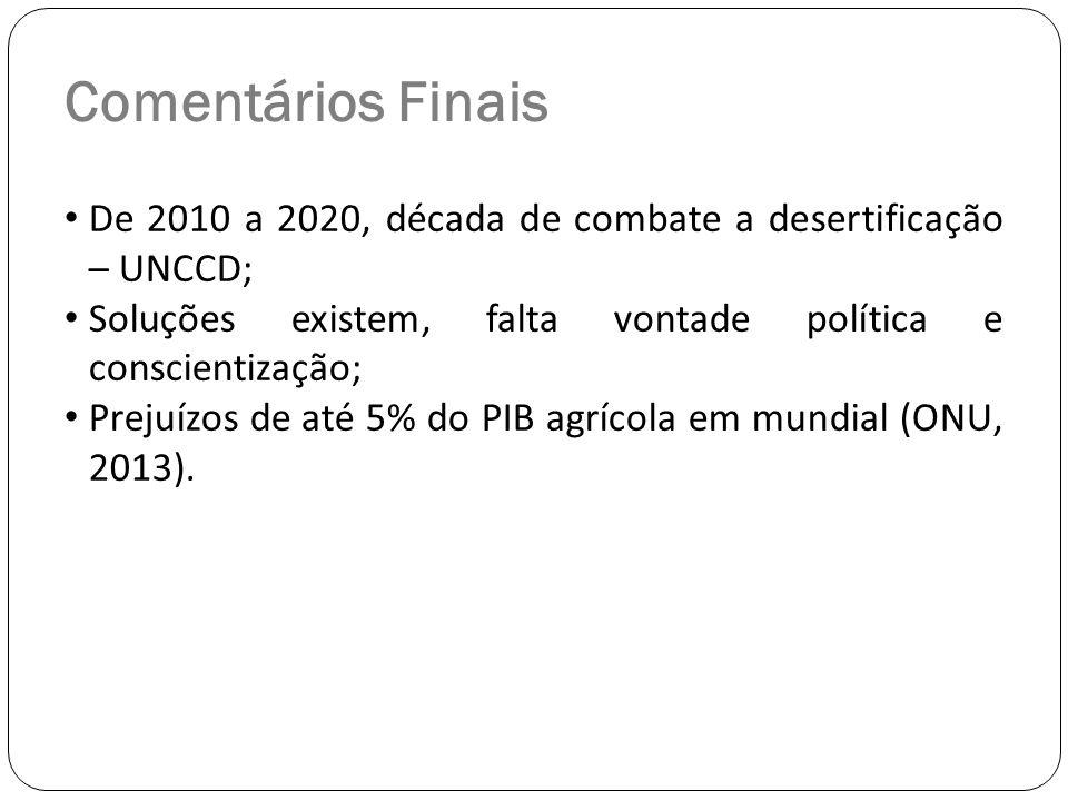Comentários Finais De 2010 a 2020, década de combate a desertificação – UNCCD; Soluções existem, falta vontade política e conscientização; Prejuízos d