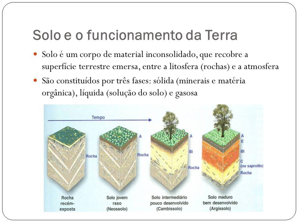 Solo e o funcionamento da Terra Solo é um corpo de material inconsolidado, que recobre a superfície terrestre emersa, entre a litosfera (rochas) e a a