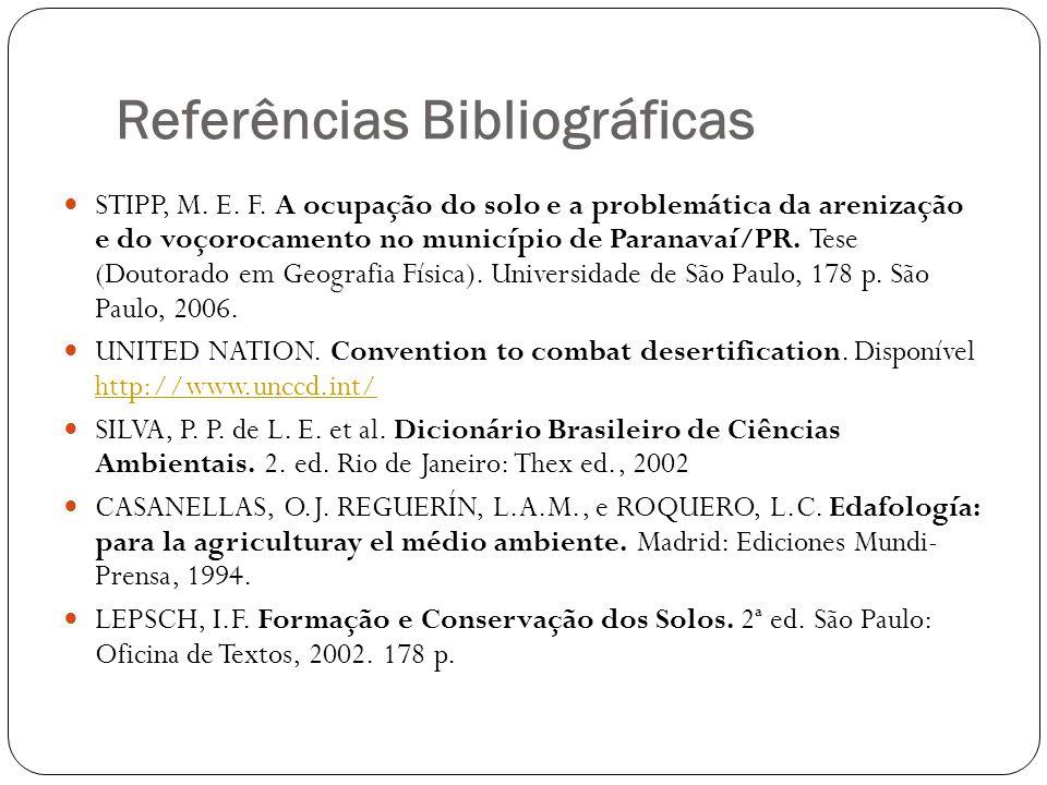 Referências Bibliográficas STIPP, M. E. F. A ocupação do solo e a problemática da arenização e do voçorocamento no município de Paranavaí/PR. Tese (Do