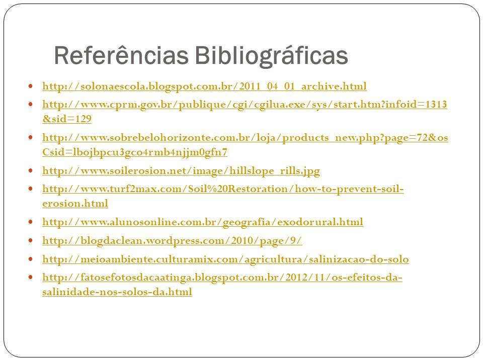 Referências Bibliográficas http://solonaescola.blogspot.com.br/2011_04_01_archive.html http://www.cprm.gov.br/publique/cgi/cgilua.exe/sys/start.htm?in