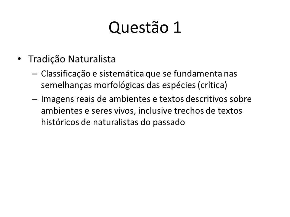 Questão 1 Tradição Naturalista – Classificação e sistemática que se fundamenta nas semelhanças morfológicas das espécies (crítica) – Imagens reais de