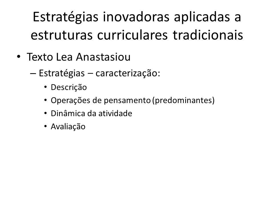 Estratégias inovadoras aplicadas a estruturas curriculares tradicionais Texto Lea Anastasiou – Estratégias – caracterização: Descrição Operações de pensamento (predominantes) Dinâmica da atividade Avaliação