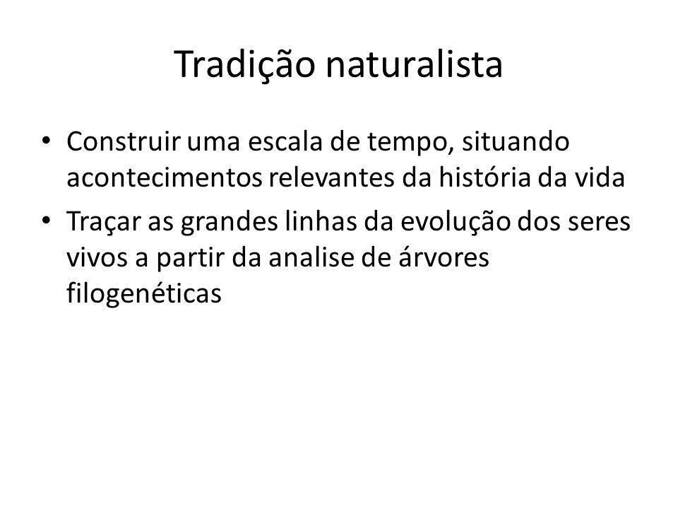 Tradição naturalista Construir uma escala de tempo, situando acontecimentos relevantes da história da vida Traçar as grandes linhas da evolução dos se