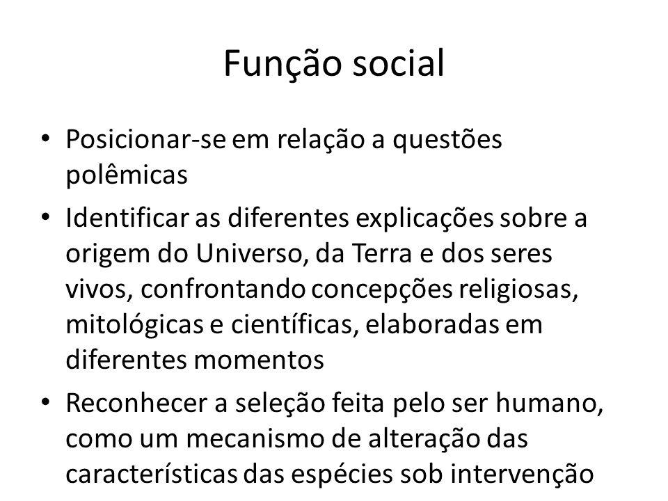 Função social Posicionar-se em relação a questões polêmicas Identificar as diferentes explicações sobre a origem do Universo, da Terra e dos seres viv