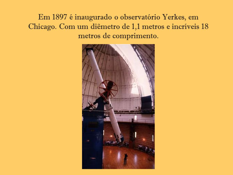 Em 1897 é inaugurado o observatório Yerkes, em Chicago.