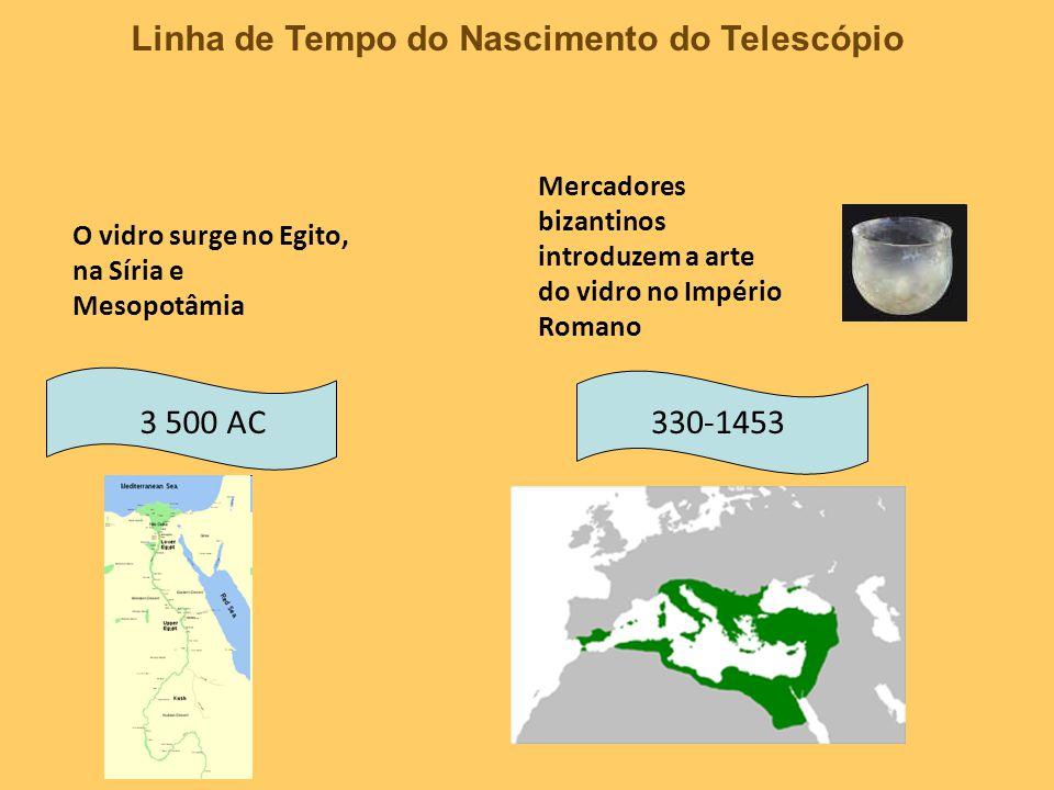 Linha de Tempo do Nascimento do Telescópio 3 500 AC330-1453 O vidro surge no Egito, na Síria e Mesopotâmia Mercadores bizantinos introduzem a arte do vidro no Império Romano