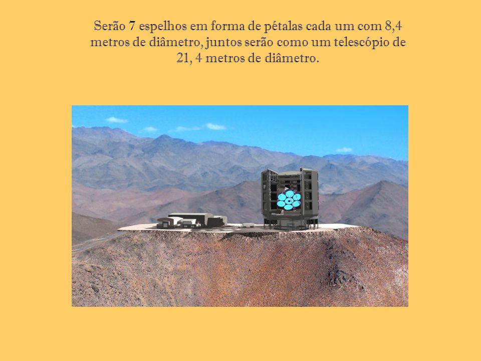 Serão 7 espelhos em forma de pétalas cada um com 8,4 metros de diâmetro, juntos serão como um telescópio de 21, 4 metros de diâmetro.