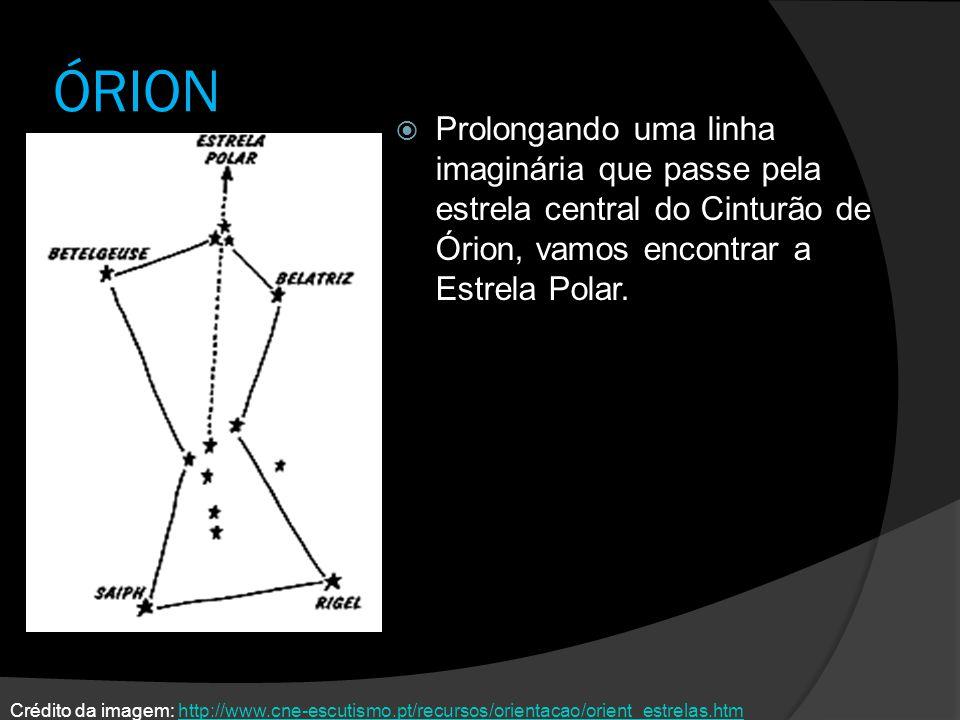 ÓRION Prolongando uma linha imaginária que passe pela estrela central do Cinturão de Órion, vamos encontrar a Estrela Polar. Crédito da imagem: http:/