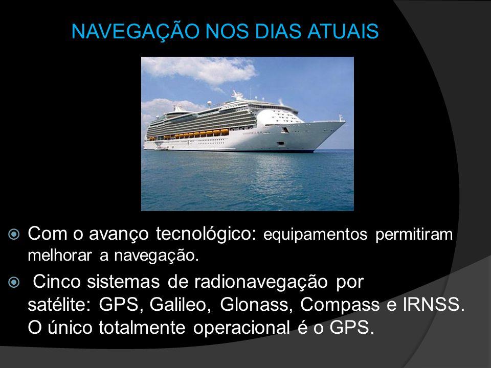 NAVEGAÇÃO NOS DIAS ATUAIS Com o avanço tecnológico: equipamentos permitiram melhorar a navegação. Cinco sistemas de radionavegação por satélite: GPS,