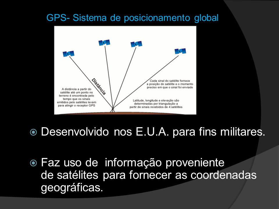 GPS- Sistema de posicionamento global Desenvolvido nos E.U.A. para fins militares. Faz uso de informação proveniente de satélites para fornecer as coo