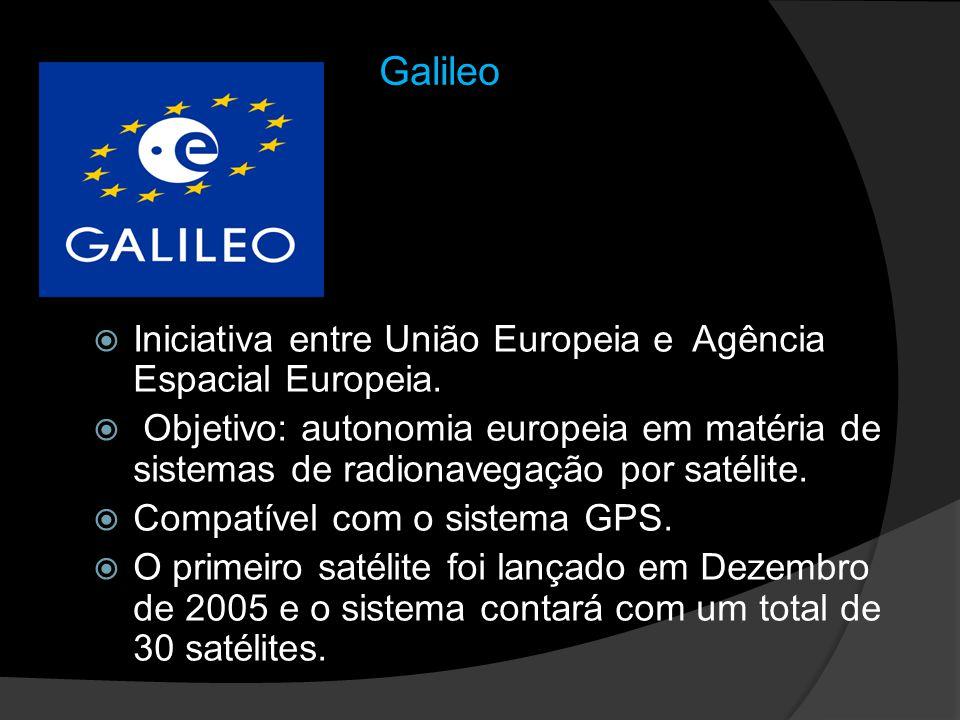 Galileo Iniciativa entre União Europeia e Agência Espacial Europeia. Objetivo: autonomia europeia em matéria de sistemas de radionavegação por satélit
