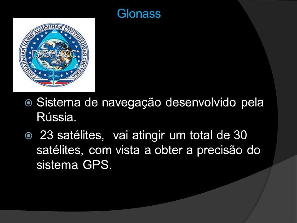 Glonass Sistema de navegação desenvolvido pela Rússia. 23 satélites, vai atingir um total de 30 satélites, com vista a obter a precisão do sistema GPS