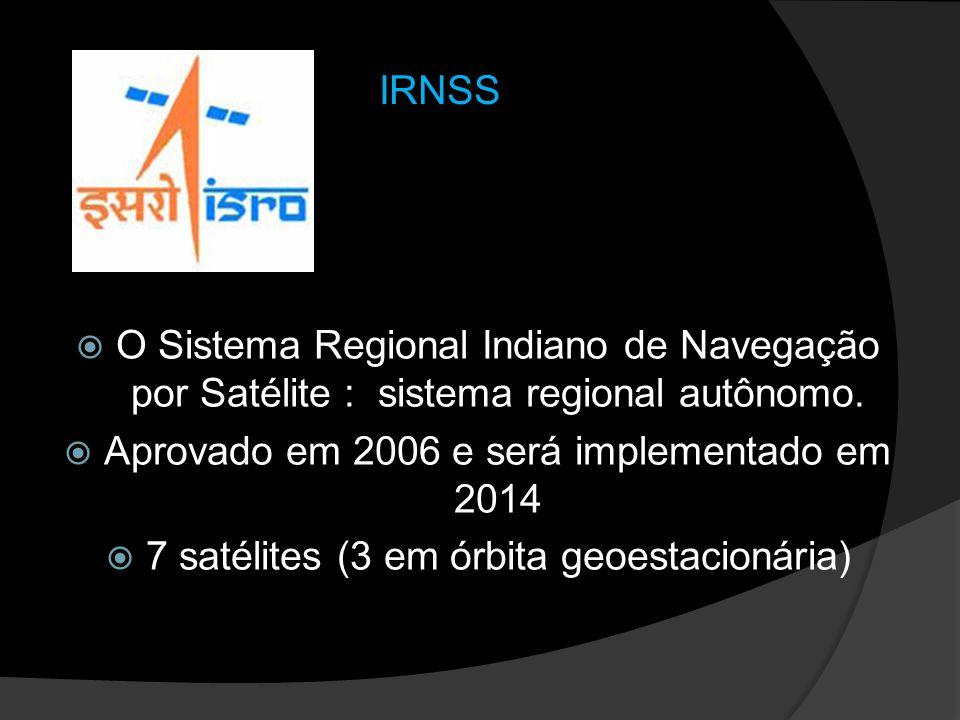 IRNSS O Sistema Regional Indiano de Navegação por Satélite : sistema regional autônomo. Aprovado em 2006 e será implementado em 2014 7 satélites (3 em