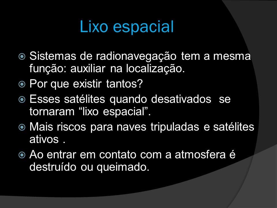 Lixo espacial Sistemas de radionavegação tem a mesma função: auxiliar na localização. Por que existir tantos? Esses satélites quando desativados se to